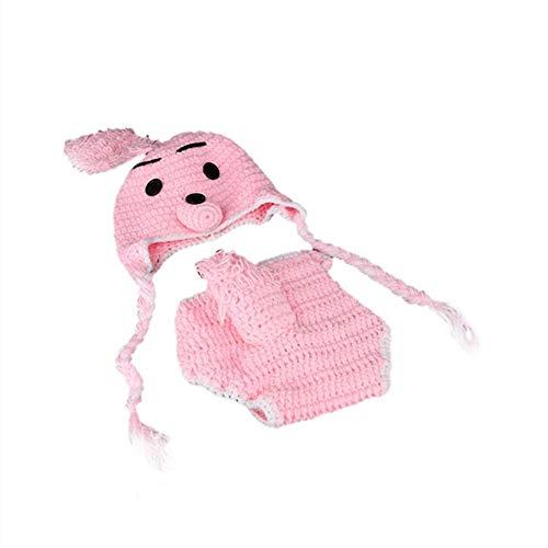 LinHut Baby-Bekleidungszubehör Baby Kleinkind Kaninchen Hase Blau/Rosa Häkeln Stricken Kostüm Weiche Entzückende Kleidung Foto Fotografie Requisiten für Neugeborene für Baby Dress - Beanie Baby Hase Kostüm