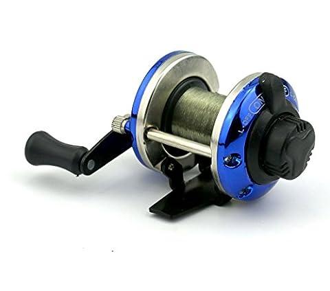 hengjia kleinste Metall Köder Guss Mini Spinning Fishing Reel Boot Eis, Fisch Wasser Rad Teller Baitcast-Coil Roller mit 50m Nylon Line - blau