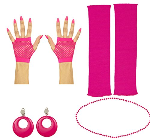 80er Jahre Set Damen Neon pink Beinstulpen Handschuhe Halskette Ohringe Party Tutu Kostüm (Handschuhe kurz)
