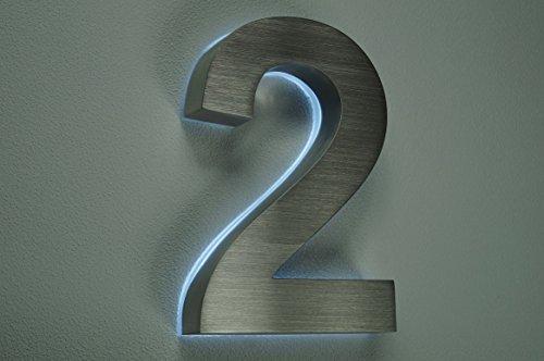 HAUSNUMMER 2 EDELSTAHL in 3D beleuchtet ca.H18cm/180mm LED weiss (12Volt) ohne Trafo
