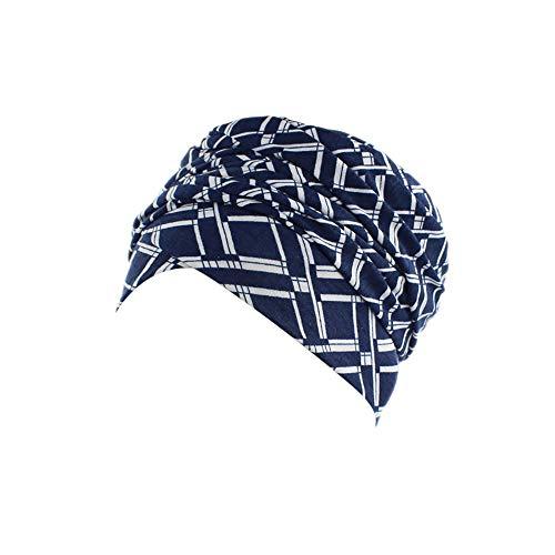 Rosennie Kopftuch Damen Turban Drucken Kopftuch Wrap Frauen Baumwolle Plissiert Turban Kopf Schals Elastischer Kopfbedeckungen Bandana Band Weich Indien Moslemischer Chemo Turban Mütze