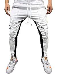 sale retailer 43d98 0fc78 Sólido Casual Pantalones Hombre Pitillo Blanco Rojo Azul Suelto Pantalones  Hombre Chandal Anchos Labor de Retazos Color Pantalón de…