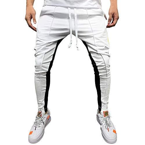 OHQ Coutures DéContractéEs pour Hommes Pantalon De Sport à Cordes Hip Hop SurvêTement Jogger DéContracté Couleur Unie Blanc Bleu Rouge Chantier Troué Basse Shorts Bermuda Cotton (M, Blanc)
