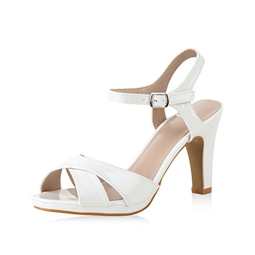 SCARPE VITA Damen Schuhe Riemchensandaletten Stiletto Sandaletten Lack High Heels 159961 Weiss 41