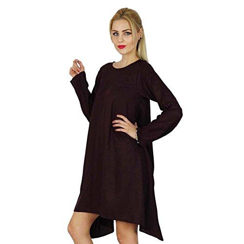 """Bimba «Les Femmes Poncho Asymétrique Flaired Robe Longueur Genou Robe De Rayonne Manches Pleine"""" Marron foncé"""