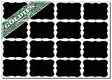 16-Etiketten, Aufkleber, wiederbeschreibbare Kreidetafel-Etiketten, für Kräuter-/Gewürzbehälter (, Einmachglas, 48mmx33mm.