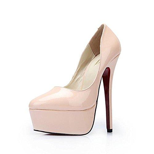 HeiSiMei Frauen high-heeled Schuhe / PU / stiletto Fersen / dicke untere wasserdichte Plattform / Office & Karriere / Partei u. Abend / Hochzeit / Kleid / super hoher Absatz / Männer / Unisex BEIGE-48