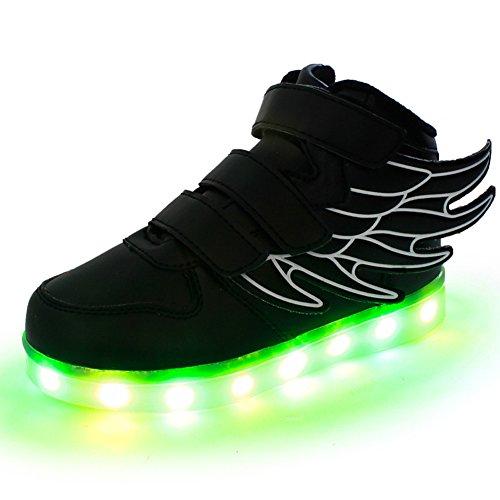 Fortuning's JDS Unisex LED beleuchtete blinkende Turnschuhe USB Aufladen leuchtende Schuhe Spinnen Schuhe mit Flügeln Schwarz