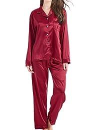 5fe0f50be2 Damen Schlafanzug Pyjama Satin Lang Nachtwäsche Set Klassische Loungewear