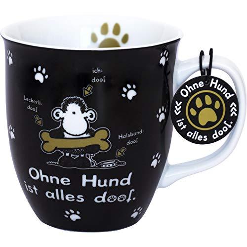 Die Geschenkewelt 45704 Tasse Ohne Hund ist alles doof, Porzellan, sheepworld Design, 40 cl, mit Geschenk-Tag, schwarz-weiß