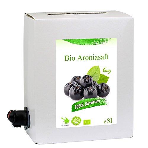 GutFood - 3 Liter Bio Aroniasaft - Bio Aronia Saft in praktischer Bag in Box Packung (1 x 3 l Saftbox) - Muttersaft aus Erstpressung in absoluter Spitzenqualität aus ökologischem Landbau