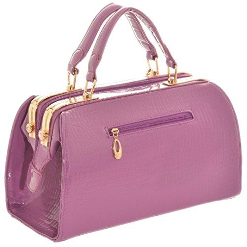 Girly HandBags Lack Doktor Handtasche Schultertasche Gold Frame Büro Frauen Metallrahmen Lila