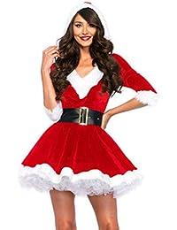 Mujer 2 Unidades Señora Claus Disfraz con Capucha Cuello En V Tutú Santa Vestidos