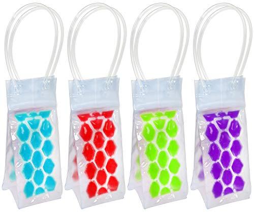COM-FOUR® 4 Flaschenkühler für verschiedene Getränkeflaschen (04 Stück - rot+ blau+grün+lila - 24.5x10x10 cm)