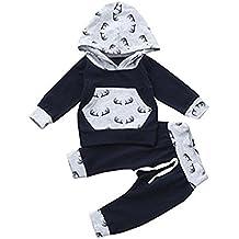RAISEVERN bebé Unisex niños niñas Sudadera con Capucha pantalón de chándal con Capucha Trajes ...