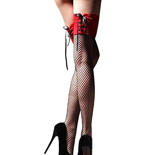 *Eleery Sexy halterlose Strümpfe mit schwarzen Spitze overknees Dessous spaß strümpfe (L: 21.65-35.43*