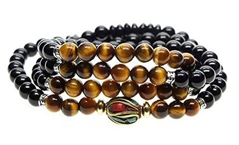 Bracelet/Collier Mala 108 Perles de Prière Bouddhistes Pierres Naturelles 6mm