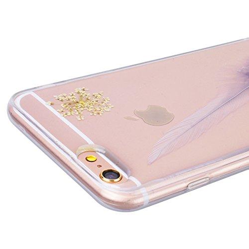 Yokata Coque iPhone 6S, iPhone 6 (4.7 pouces) Transparente Motif Plume Housse Étui Doux Ultra Mince Etui iPhone 6S / 6 Silicone Souple TPU Gel Bumper en Clair Soft Case Flexible Back Cover Anti Rayure Violet Clair