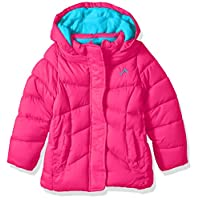 Vertical 9 Girls' Big Quilted Bubble Jacket with Hood, Fuchsia, 14/16