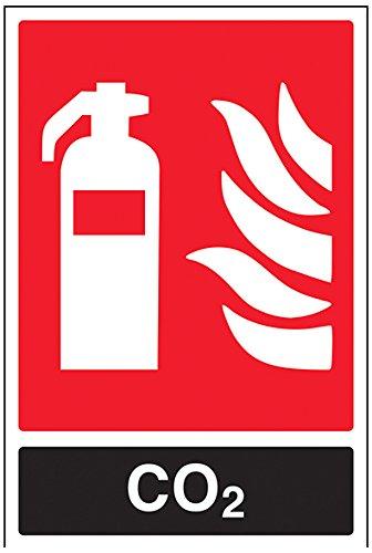 VSafety Feuerlöscher-Schild 11030AU-R, CO2-ID, starrer Kunststoff, Hochformat, 200mm x 300mm, schwarz/rot