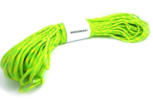 WINGONEER® 550 Paracord Mil Spec Type III 7 cavo per paracadute fluorescente verde + giallo 100 piedi
