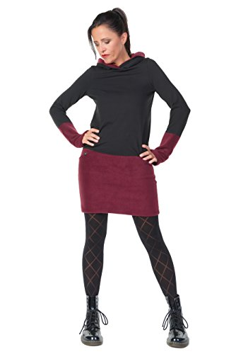 Winterkleid langarm Kapuze Damen Hoodiekleid Winter Kleid Frauen Minirock Fleece Gothic warm Hoodie 3 Elfen, schwarz weinrot XL (Fleece-kleid)