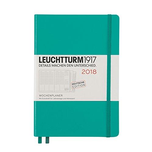 LEUCHTTURM1917 355160 Wochenplaner 2018 Medium (A5), Smaragd, Deutsch