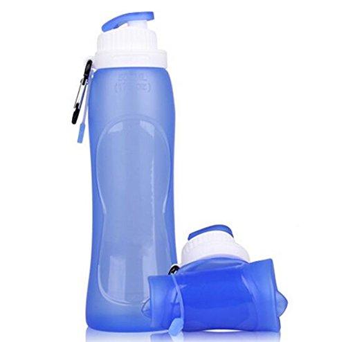 Fiesta en silicone pliable bouilloire Outdoor Sport Bouteille d'eau portable multifonctionnel Bouteille Magique Shaker pliable 500 ml F2 : Bleu