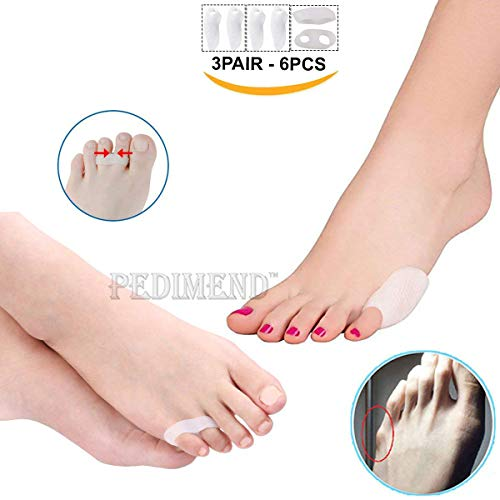 l Toe Protection + Soft Silicone 2 Holes Orthopedic Bale Toe Flat Iron (3 Pairs - 6 Pieces), Protects Pinkie Toes, Pinkie Toe Pads, Absorbs Pressure & Valgus Correction, Foot Care ()
