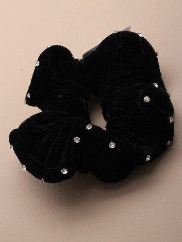 4568 Velours noir froufrou avec strass cristaux autour edge Bal Soirée Festival