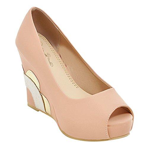 Mee Shoes Damen peep toe Keilabsatz Geschlossen Pumps Pink