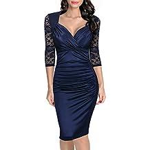 Miusol Encaje Vestido de Mujer Vintage Contraste Encaje Elegante Vestido de Novia