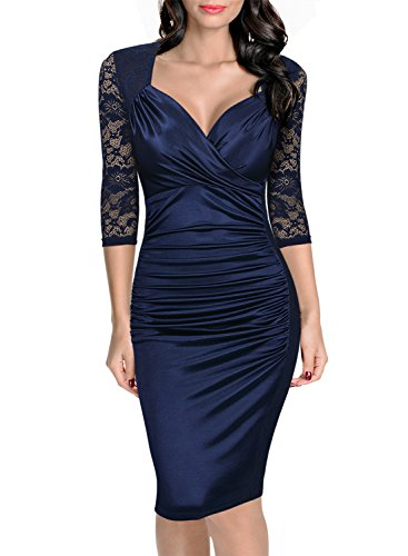 Miusol Damen Elegant Sommer Kleid Spitzen 3/4 Arm Wickelkleid Cocktailkleid Blau Gr.L (Für Sommer Frauen Kleider Blau)