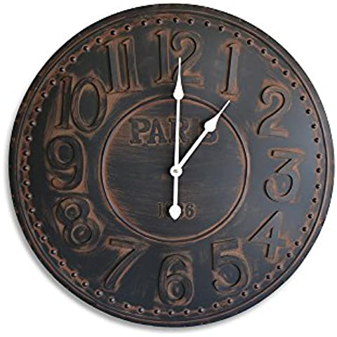 Moycor Decoracón - Reloj de pared Charlotte,, metal, redondo, 68 x 2 x 68 cm, color negro