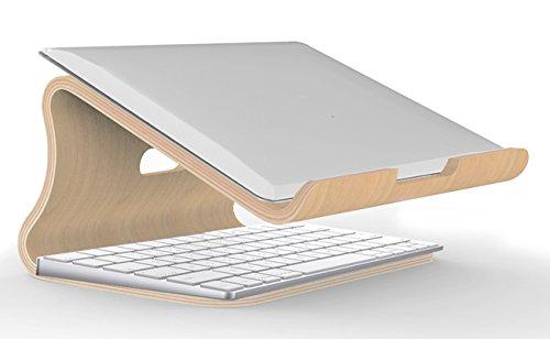 Samdi Holz Laptop Stehen/Universelle Laptop Halter Elegante Holz Notebookständer PC Halterung Kühlung Cooling Stand Haltewinkel Sockel für MacBook Air/Pro Retina (Weiße Birke) - 15 Pro Holz-tastatur Macbook
