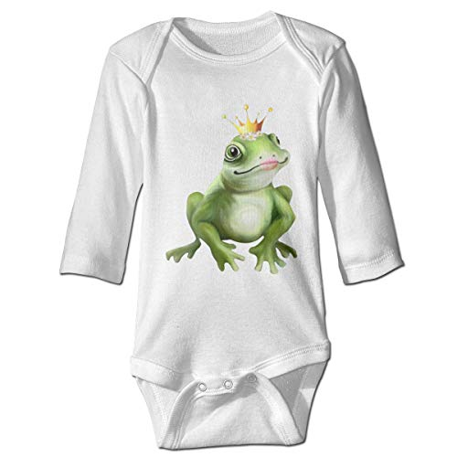 Monicago Neugeborenes Baby Jungen Mädchen Babybody Langarm, Baby Boys Girls Bodysuit Funny Green Frog with Daisy and Gold Crown Jumpsuit Onesies Long Sleeve Unisex -