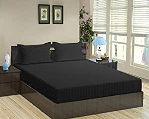 """Trance Home Linen 100% Cotton Satin Stripe 210Tc King Fitted Bedsheet with 2 Pillow Covers (78"""" x 72"""") - Black"""