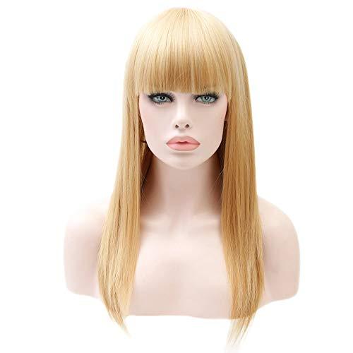 TIREOW Perücke Damen Mode Blonde Lange Gerade Perücke Synthetische Pony Lange Perücken 25 ()