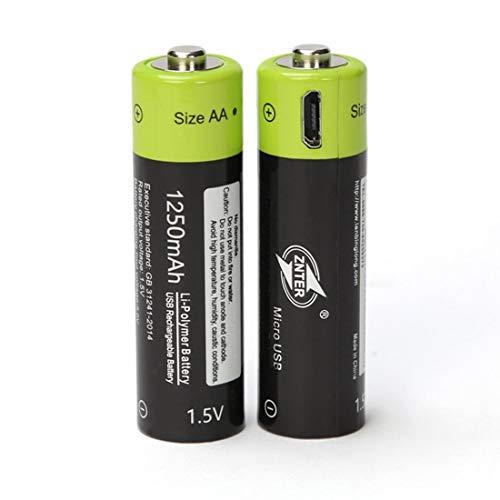 1250-kabel (ZNTER ZNT5-1-BR Universal AA 1,5 V 1250 mAh USB-Lithium-Polymer-Akku, aufgeladen durch Micro-USB-Kabel - Schwarz & Grün)