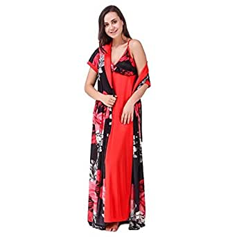 ... Nityakshi Women s Satin Red Sleep Nighty with Robe Set - Suitable for All  Seasons ebbf5fa20