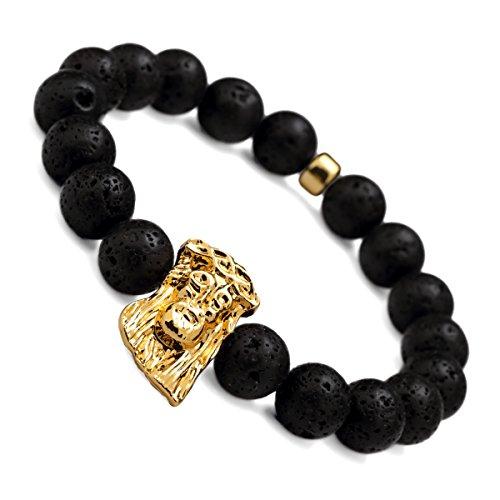 nyuk da uomo Lava Naturale Originale Hip Hop oro Gesù Nero Perline Braccialetto, Lega, colore: Small size, cod. LC00021