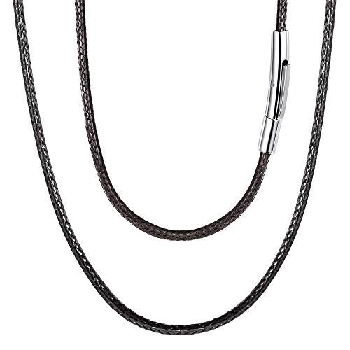 FOCALOOK 70CM Halskette Mode Kunstleder Collier Wachsschnur Kette 2mm breit Schwarz Geflochten Lederkette Gothic Lederband mit Edelstahl Verschluss für Männer Frauen Jungen Mädchen