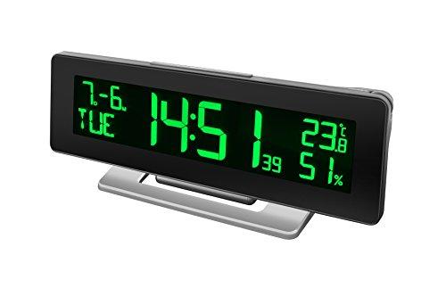 Bresser Tischuhr Funkuhr mit Wecker, Temperatur und Hygrometeranzeige für den Innenraum und 256 Farben Display mit 4 verschiedenen Farbmodi (automatisch, manuell, Regenbogen, temperaturabhängig)