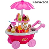 #3: Kids Choice Kid's Ice Cream and Sweet Marketing Cart with Music Role Pretend Play Toy