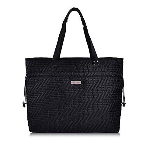 La Gracery Damen Nylon Tragetasche Handtasche Nylon Arbeit Shopper Tasche Handtasche Damen Tote - Schwarz41x36x14 cm (B x H x T)