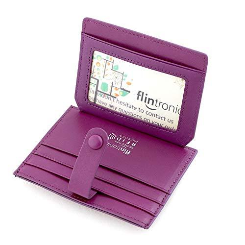 flintronic Porta Carte di Credito e Tasche Pelle, RFID/NFC Blocco Portafoglio Bifold Magico ID Clip