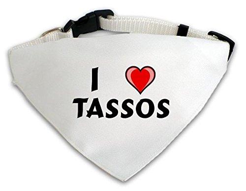 Personalisierter Weißer Hundschal mit Aufschrift Ich liebe Tassos (Vorname/Zuname/Spitzname)