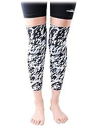 COOLOMG rodilleras (par) para los niños de baloncesto juvenil para adultos de la pierna de la rodilla de las mangas del protector del engranaje de EVA Digital Camo Negro gris medio