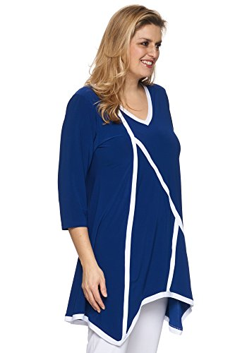 Cobalt-Blue Long Tunika Stretch - stylish der Besatz in weiss Blau