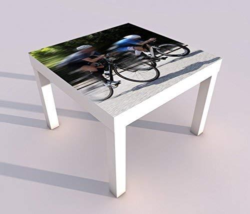 Design - Tisch mit UV Druck 55x55cm Rennrad fahren Straße Fahrrad tour Spieltisch Lack Tische Bild Bilder Kinderzimmer Möbel 18A1306, Tisch 1:55x55cm